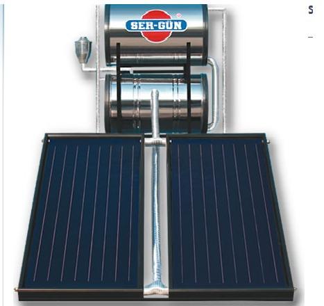 آبگرمکن خورشیدی تحت فشار ظرفیت ۱۸۰ لیتر با دو کلکتور selective surface مخصوص ۵ نفر